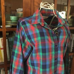 Vtg 1980s jewel plaid tartan thin shirt preppy